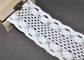 Fehér (65 mm) horgolt csipke