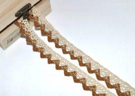 Arany-ekrü (20 mm) horgolt csipke