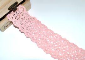 Rózsaszín (45 mm) horgolt csipke