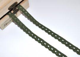 Fenyőzöld (10 mm) horgolt csipke