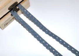 Sötétszürke (10 mm) horgolt csipke