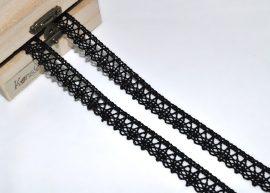 Fekete (15 mm) horgolt csipke