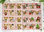 Adventi számok - Macis (négyzetek) karácsonyi barkácsfilc