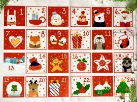 Adventi számok - Állatos (piros) karácsonyi barkácsfilc
