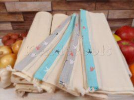 Öko zsák megkötős (mussola pamut vászonból) 4 db/csomag