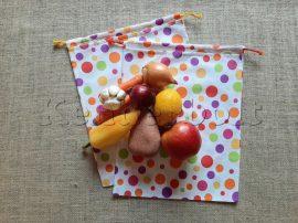 Öko zsák megkötős (mintás pamut vászonból) - színes pöttyös 2 db/csomag