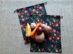 Öko zsák megkötős (mintás pamut vászonból) - hagyományos, fekete 2 db/csomag